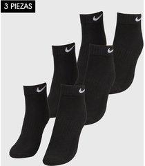 medias x3 negro-blanco nike everyday cushion ankle