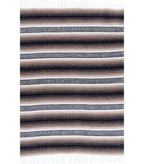 native yoga economy flaza mexican blanket tan cotton
