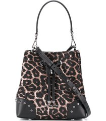 michael michael kors leopard print drawstring shoulder bag - brown