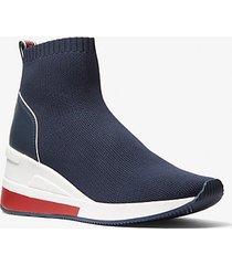 mk sock sneaker skyler in maglia stretch con fettuccia logo - navy (blu) - michael kors
