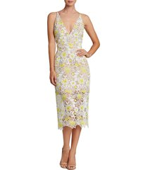 dress the population aurora floral midi dress, size small in white/yellow floral at nordstrom