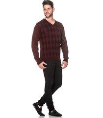 suéter passion tricot lk losango vinho