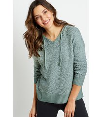 maurices womens solid hooded pullover sweater green