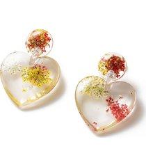 dried floral heart earrings