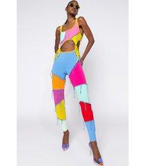 akira patchwork fringe jumpsuit