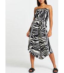 river island womens white zebra print culotte beach jumpsuit