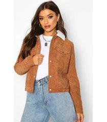 padded borg collar cord jacket, tan
