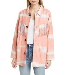 women's sea zelda tie dye fringe trim leather jacket, size medium - pink