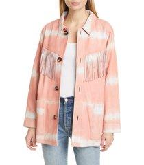 women's sea zelda tie dye fringe trim leather jacket