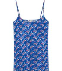 top estampado floral con tiras color azul, talla 16