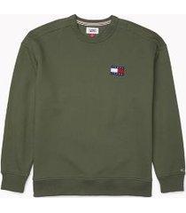 tommy hilfiger men's adaptive badge crewneck sweatshirt thyme - l
