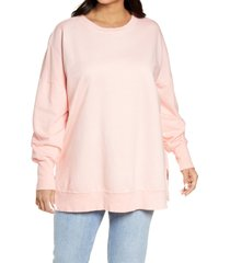 plus size women's caslon side slit tunic sweatshirt, size 2x - pink