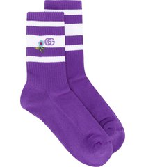 gucci embroidered terry cloth socks - purple