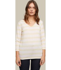 camiseta manga 3/4 cuello en v estampado rayas horizontales-l