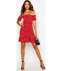 tall bloementpatroon skater jurk met boothals, rood