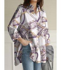 camicetta vintage allentata con tasca a maniche lunghe con risvolto con stampa sciarpa
