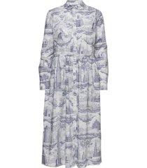 eli shirt dress aop 11332 maxi dress galajurk blauw samsøe samsøe