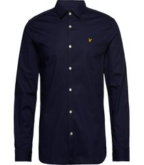 ls slim fit poplin shirt overhemd casual blauw lyle & scott