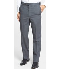 men's berle self sizer waist flat front classic fit wool dress pants, size 32 x unh - grey