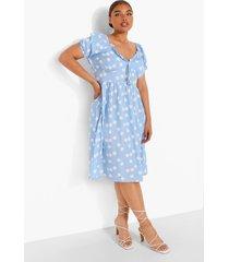 plus geweven midi jurk met pofmouwen, split en stippen, light blue