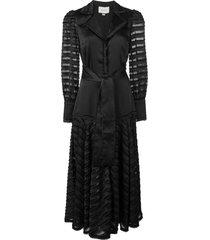 alexis juliska sheer-panelled dress - black