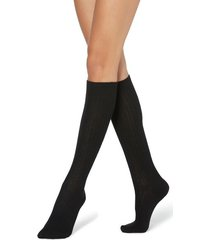 calzedonia long ribbed socks with wool and cashmere woman black size tu