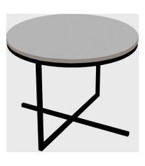 mesa redonda volpi baixa branco/preto artesano