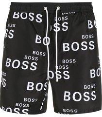 boss logo-print drawstring swim shorts - black