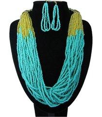 collar artesanal azul sasmon cl-12331