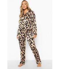 satijnen luipaardprint pyjama set, brown
