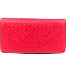 bottega veneta intrecciato wallet on chain red leather crossbody bag red sz: m