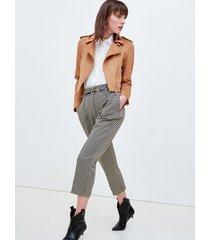 motivi pantaloni cropped fantasia pied de poule donna marrone