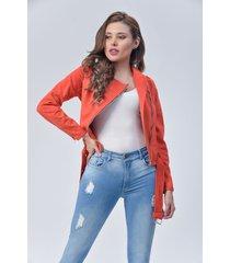 chaqueta biker dama naranja di bello jeans  classic jaket ref c088