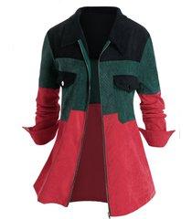 plus size corduroy colorblock zip pocket jacket