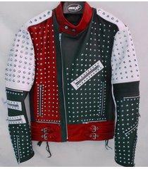unique design full studded biker leather coat jacket multicolor custom made size