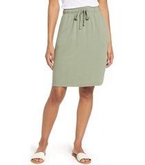 caslon(r) drawstring waist skirt, size large in green dune at nordstrom