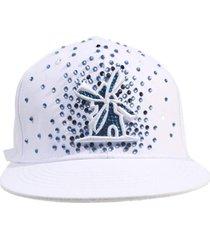 bonã© giulianno fiori ralph white logo strass azul marinho e frente strass azul aba reta - branco - masculino - dafiti