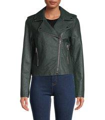 noize women's ivanna vegan leather moto jacket - forest - size xxl