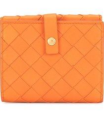 bottega veneta intrecciato folding wallet - orange