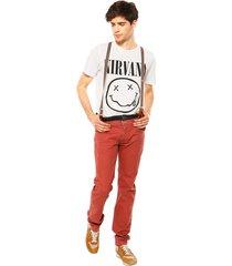 pantalón desigual saint paul rojo - calce slim fit