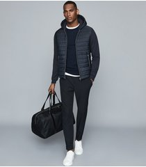 reiss basing - hybrid quilted zip through hoodie in navy, mens, size xxl