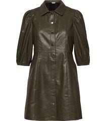 onlrilla puff faux leather dress pnt kort klänning grön only