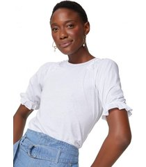 amaro feminino blusa algodão mangas bufantes, branco