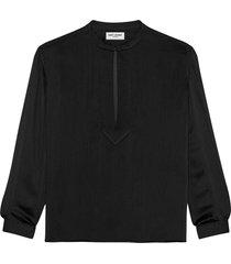 saint laurent collarless silk tunic top - black