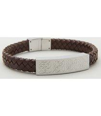 steel gents medium brown leather bracelet
