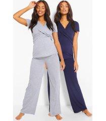zwangerschaps wikkel borstvoedings pyjama set met broek, marineblauw