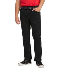 men's volcom 'solver' straight leg jeans, size 30 - black