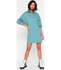 womens it's zip-up to you mini sweatshirt dress - teal