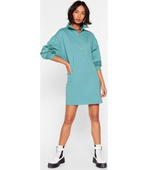 womens it's zip-up to you mini sweatshirt dress - teal