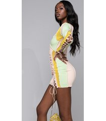 akira off the rip contrast trim lace up mini dress